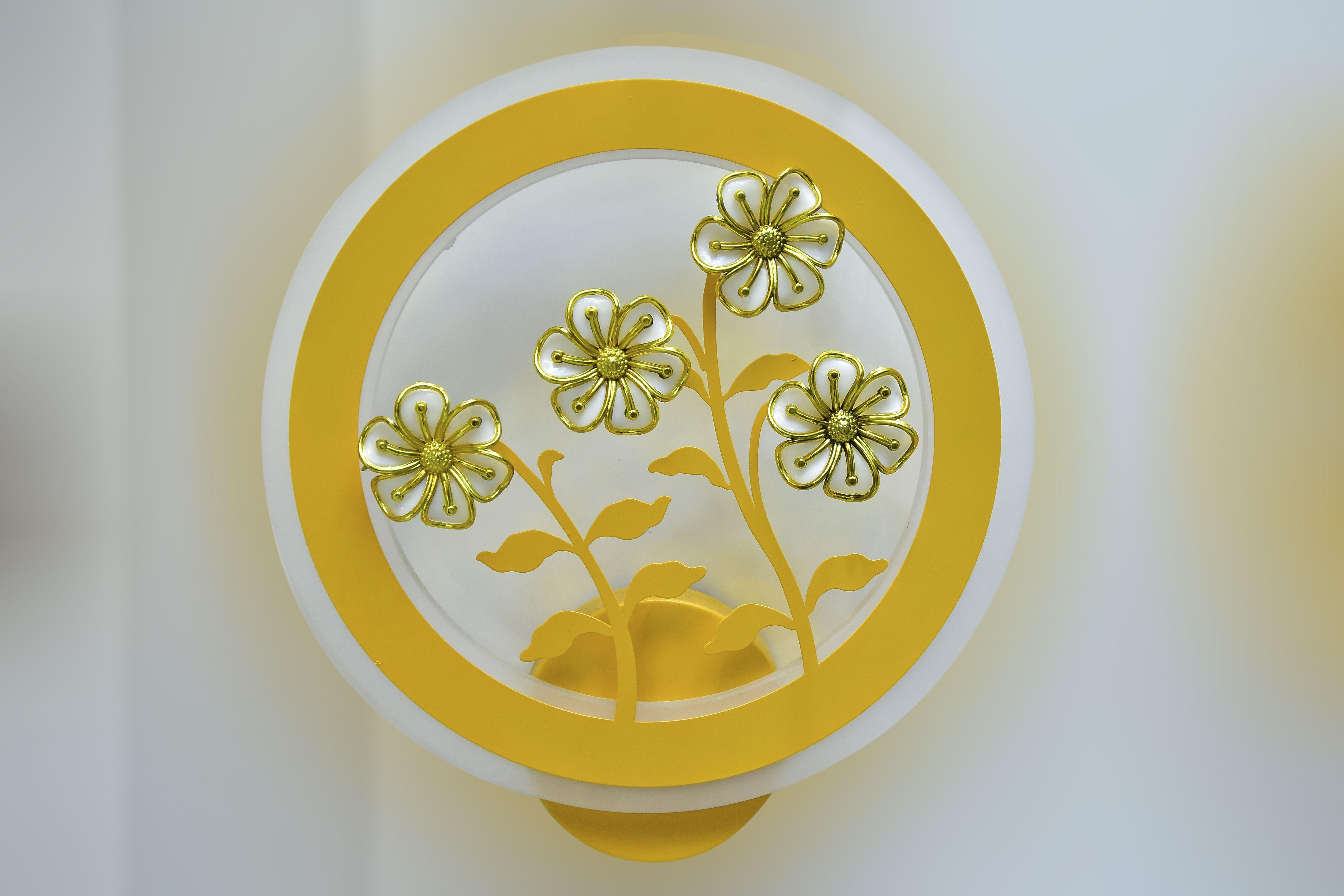 Yellow Flower  wall light