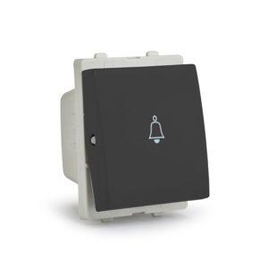 Opale bell press switch 2 module 6A Black